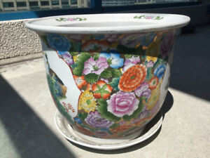 Vintage Chinese Art Flower Pots with Matching Bottom Plates