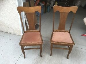 Antique oak dining room chairs pair upholstered seats