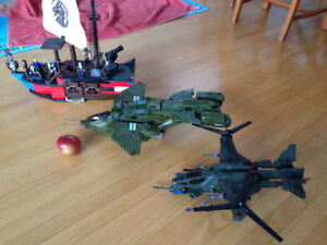 lego, megabloks, plane, helicopter, pirate ship