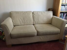 Oatmeal Furniture Village 2 seater sofa with chair. Excellent condition.