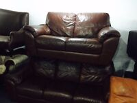 Brown leather 3 and 2 sofa set