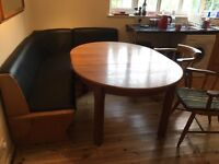 Solid oak & leather corner seating unit & dining table
