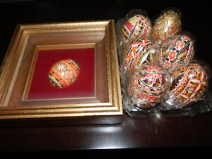 7 PAINTED UKRAINIAN EGGS AND 1  EGG ON STAND