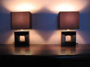 Pair of Glazed Ceramic 'Copper Bronze Metal' Style Lamps