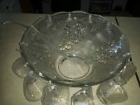 Punch Bowl with 10 glass cups for sale