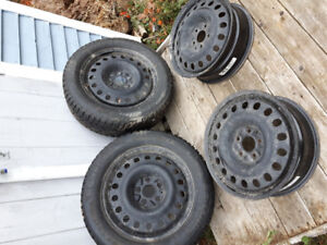 """17"""" Steel Rims and 2 winter tires $150 OBO"""