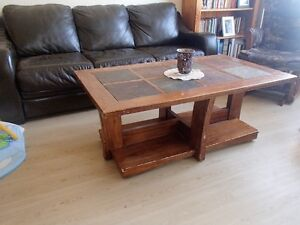 3 Coffee Table Set - inlaid tiles, solid wood