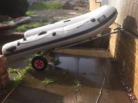 2.6 metre rib/tender complete with mariner 9.9hp outboard & foldable launch trailer