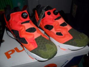 Reebok Insta Pump Men's running shoes size 11.5 US Orange Green