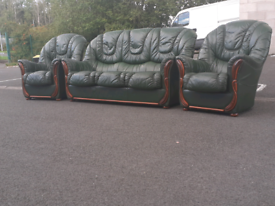 Green Italian Leather 3 Seater Sofa and 2 Chairs