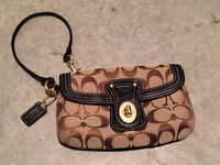 COACH canvas wristlet with leather detailing