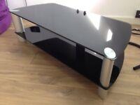 Black glass two shelf TV Stand