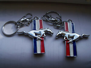 Mustang Horse Key Chain Fob Ring Keychain red white & blue metal London Ontario image 3