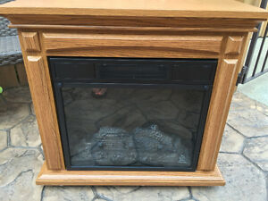 Heritage Oak Compact Electric Rolling Fireplace
