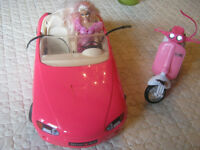 Barbie  porsche and Scooter