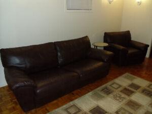 Sofa -lit 2 places + fauteuil en cuir IKEA