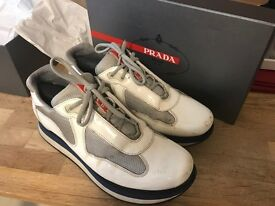 Prada Trainers Patent White, Good Condition, Size 9, Very Rare, Payed £595