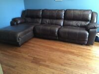 Ashley furniture real leather reclining sectional