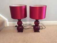 Table lamps - Red - glass bubble - x 2