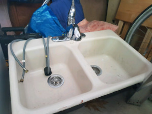 Koeler Cast Iron Double Sink & Moen Faucet