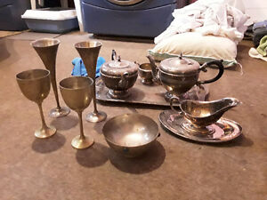Silver tea and coffee service plus other silver