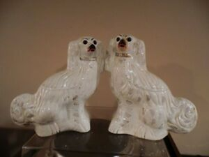 1880's Rare Staffordshire Spaniel Fireplace Mantle Dog Pair