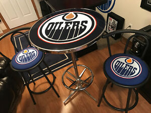 Oilers pub table and chairs