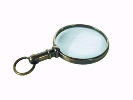 Small Bronze Magnifier, Magnifying Glass Pendent, Reading Glasses