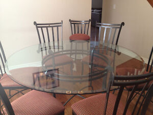 GLASS DINING ROOM TABLE SET (4 CHAIRS)
