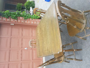 Antique drop-leaf dining table & 4 chairs