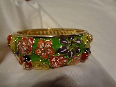 Richard Simmons lady bug flower oval bracelet hinged. (Richard Simmons Costume)