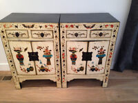 Pair of hand painted Chinese cabinets for Sale