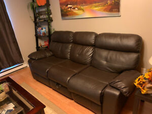 Dark brown reclining faux leather couch