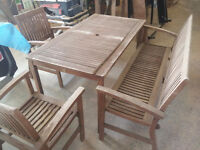 Wood Patio Table and Chair and Bench set - all need TLC
