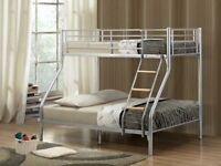 NEW Diamando Single 3ft Twin Bunk Bed & Trio Sleeper Metal with Sprung and Foam Mattress Options