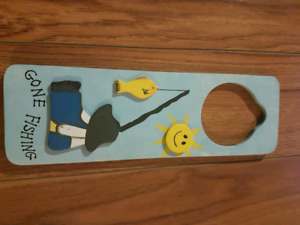 Gone fishing kids door sign