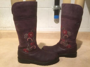Girls Purple Clarks Gore-Tex Tall Boots Size 13.5