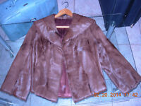 Muskrat skin stole, small, mint condition,smoke/stain free