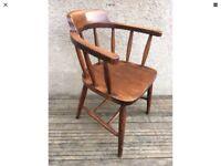 Elm Stick Back Vintage Captains Carver Chair Armchair Smokers Desk Chair