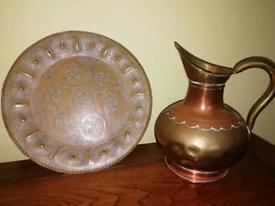 CopperJug & 12inch Brass Plate