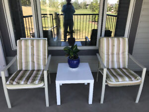 4 PATIO CHAIR CUSHION (Metal) Including White Table Can Deliver