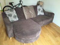 3 seater sofa with cuddle corner.