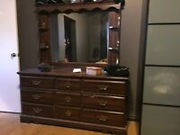 Antique dresser with 2 side tables