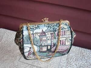 Wonderful Tapestry Evening Bag with Chain Handle!