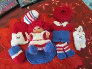 """Hand knitted outfits for 5"""" Doll - ideal for granddaughters"""
