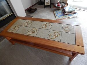 Coffee table and end table Oak with ceramic tile inlay