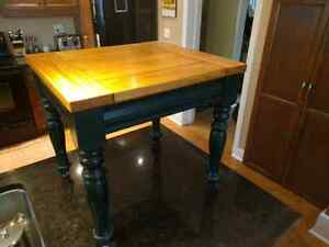 Two solid wood side tables