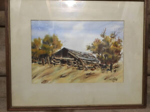 """WATERCOLOUR """"THE OLD DOG SHACK"""" BY STAIGH '74"""