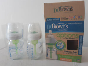 NEW Glass Dr. Brown's  Newborn -Bottle to Reduce Colic- w/ brush