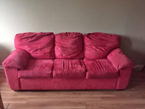 Red microfiber couch - comfy & clean!